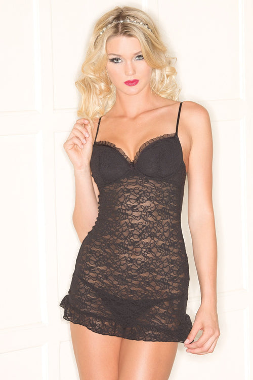 Black Chemise Lingerie 2 Piece Underwire Lace Bustle