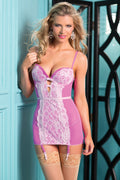 Pink Chemise Lingerie White Lace 2 Piece Underwire