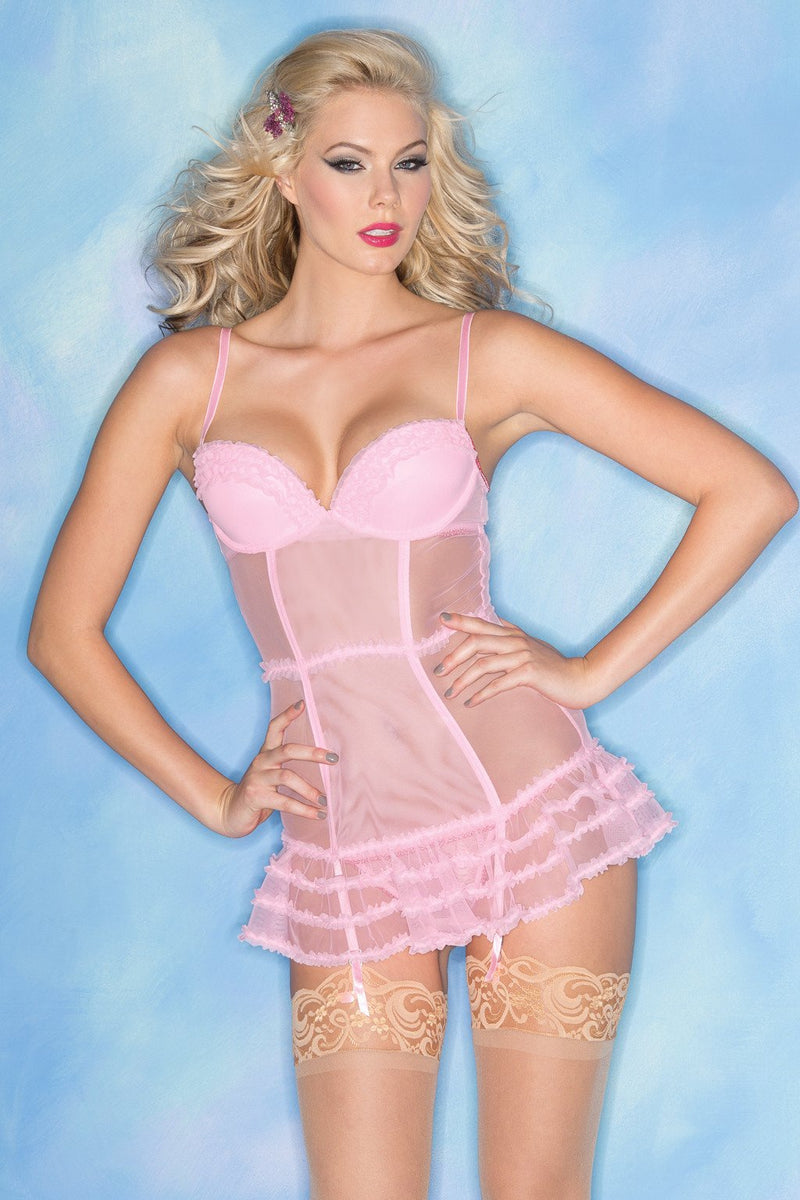 Candy Pink Chemise Lingerie Sheer Ruffles