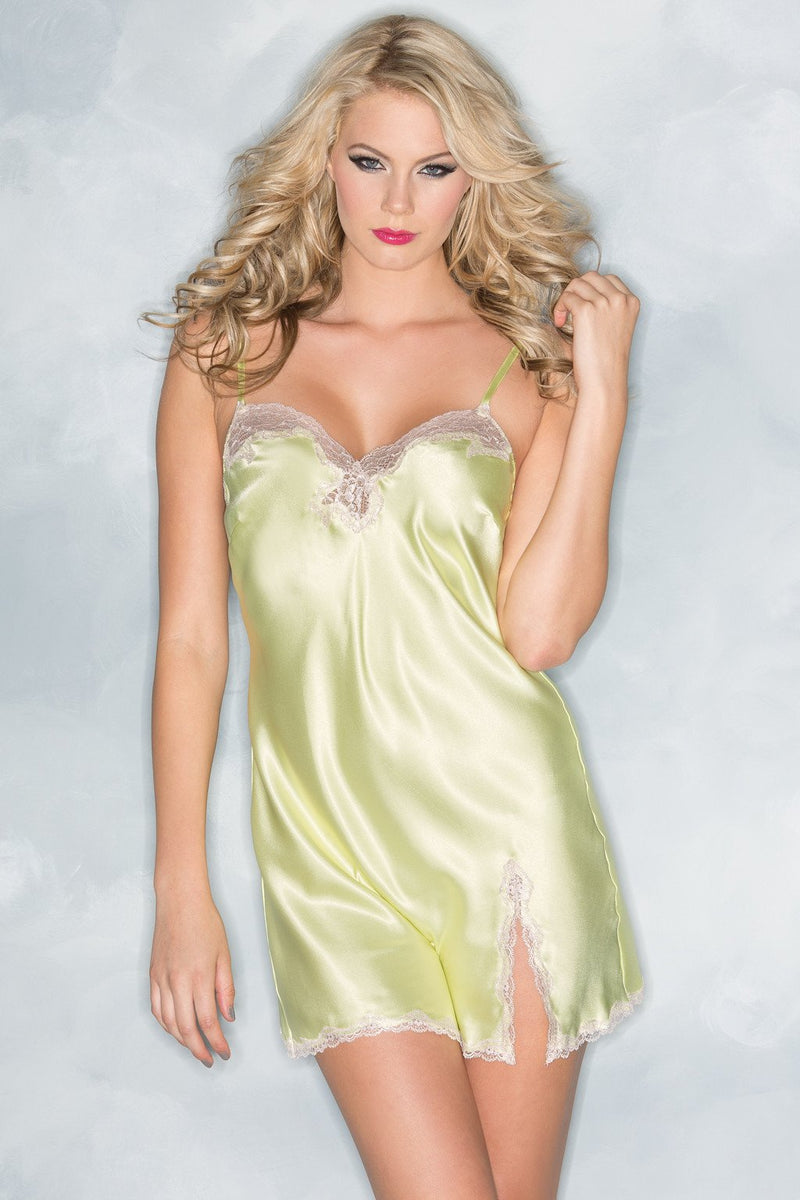 Yellow Babydoll Lingerie Satin Lace Trim High Slit
