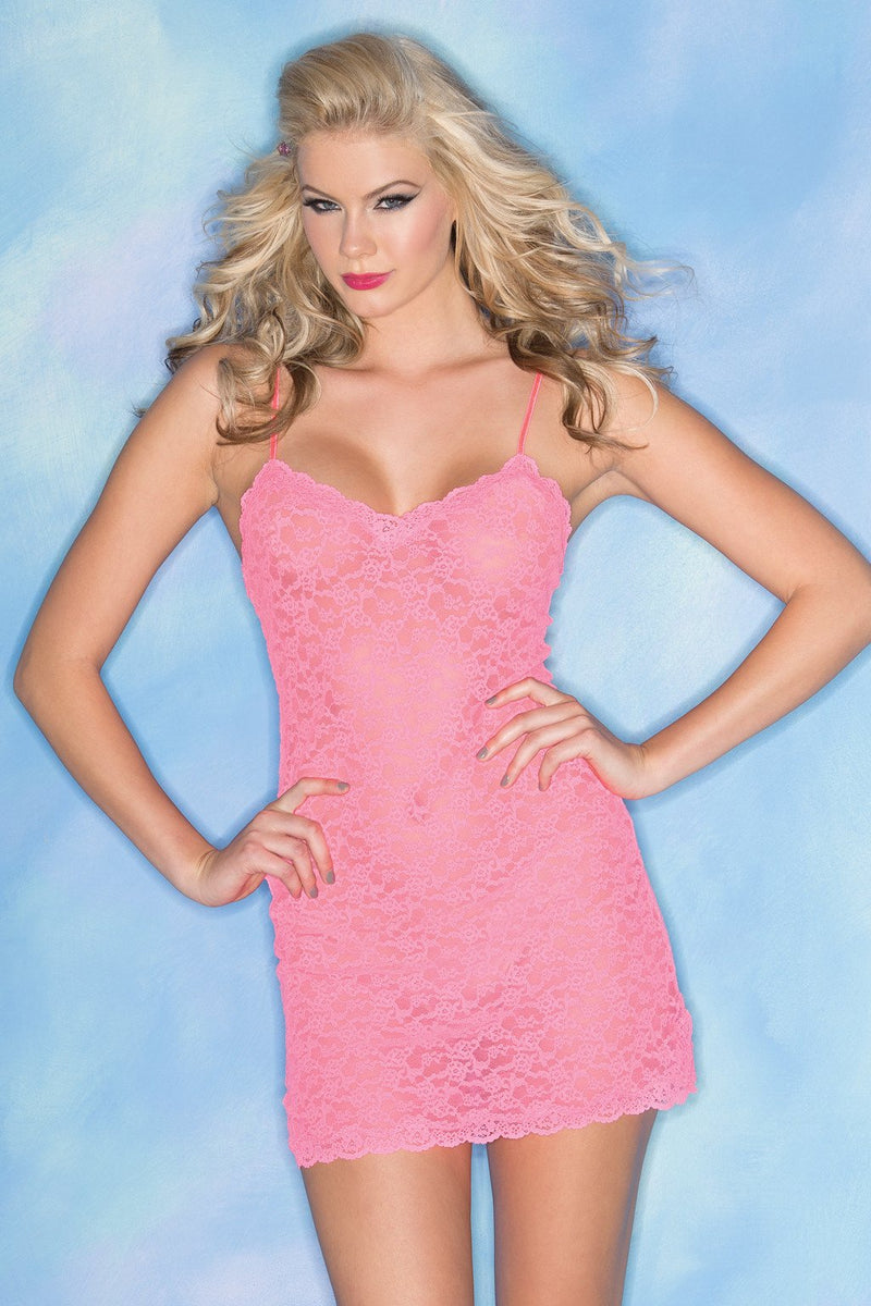 Baby Pink Chemise Lingerie Floral Sheer Lace