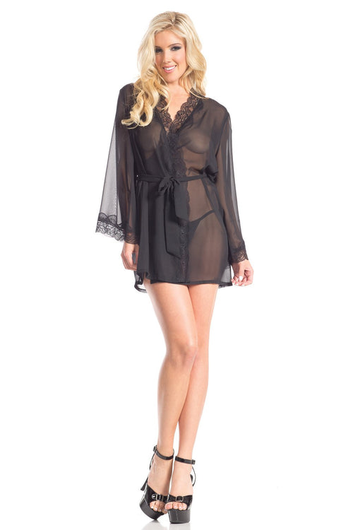 Black Sheer Lace Trim Robe