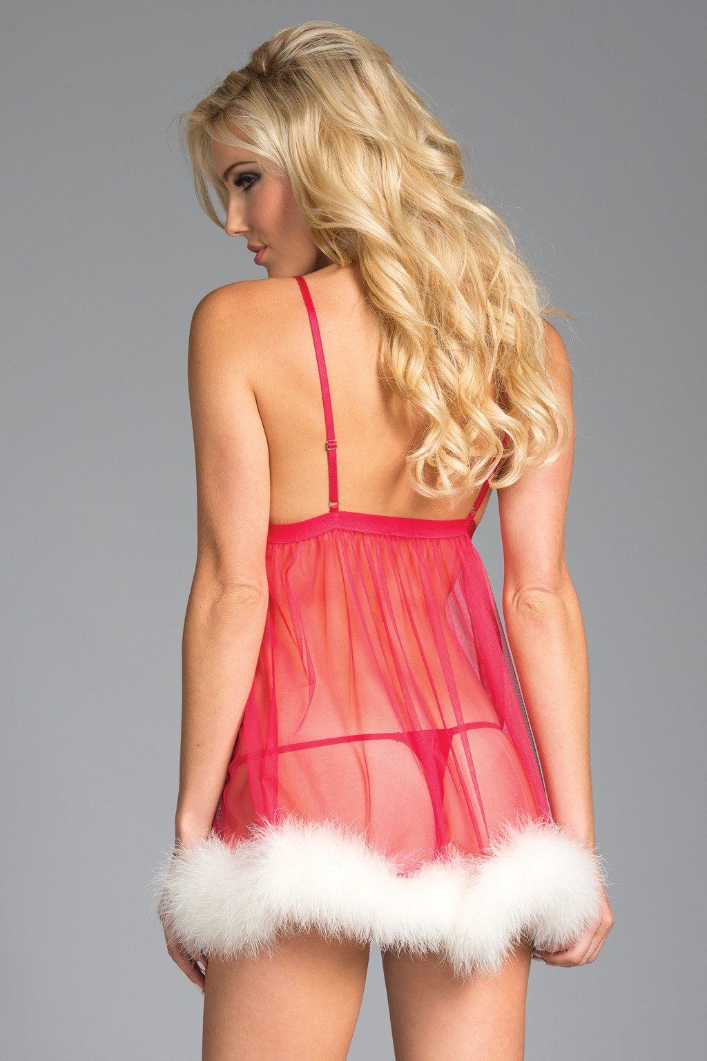 753690e6d ... Pink Babydoll Lingerie Sheer Marabou Feather Trim Satin Bow Accent