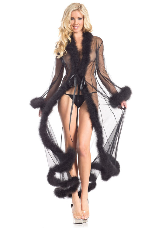 Black Sheer Marabou Robe Sleepwear Lingerie