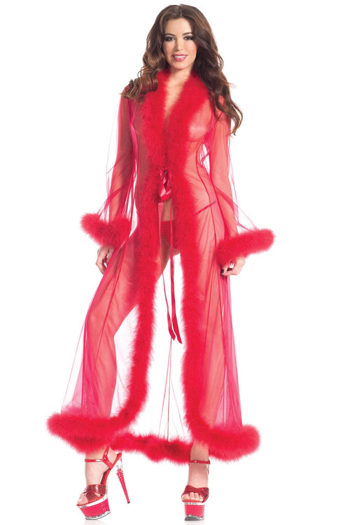 Red Sheer Marabou Feather Robe Sleepwear Lingerie