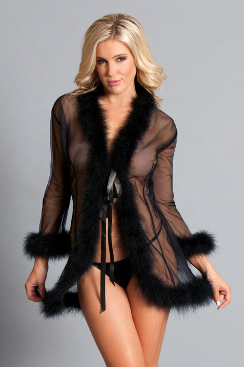 Black Sheer Marabou Feather Robe Sleepwear Lingerie