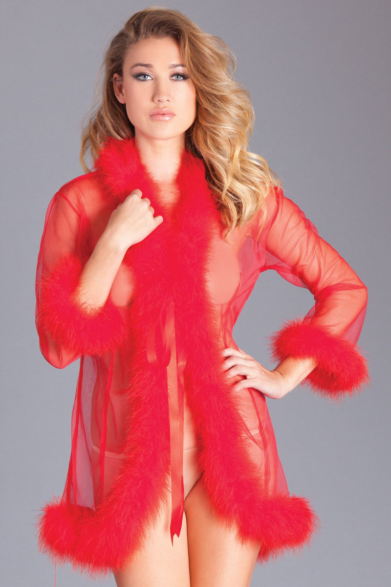 Red Robe Sheer Marabou Feather Trim Sleepwear Lingerie