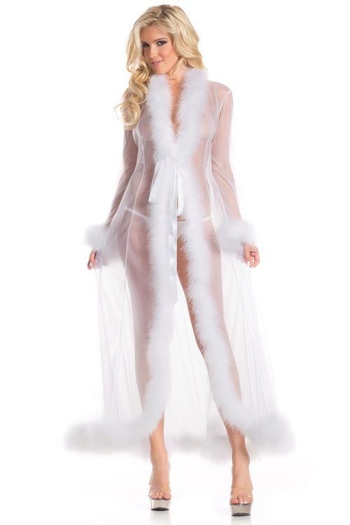 White Sheer Marabou Robe Sleepwear Lingerie