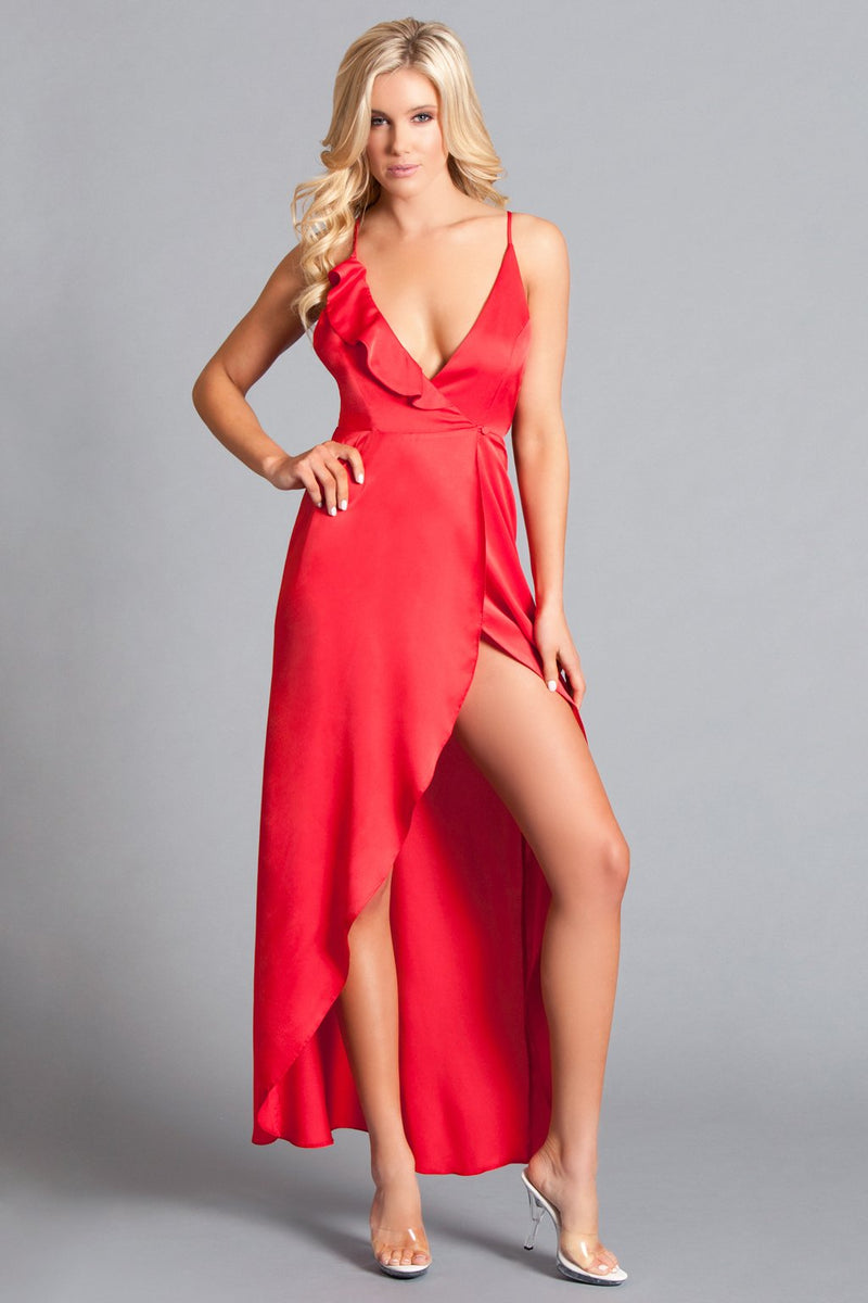 Red Dress Plunge Neck