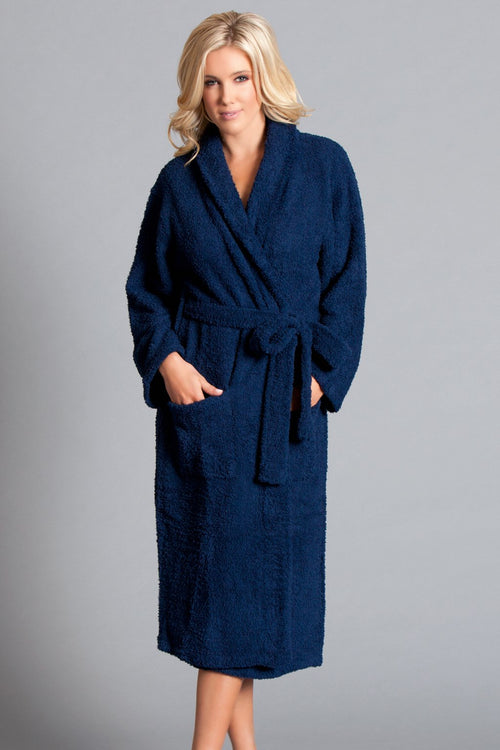 Navy Blue Plush Bath Robe