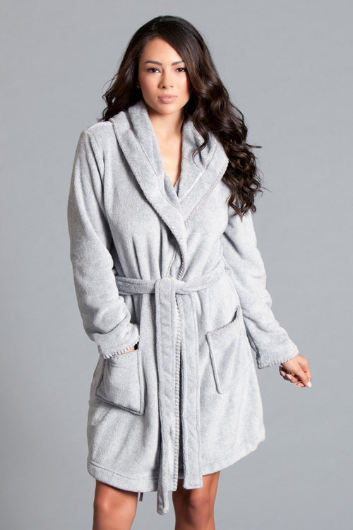 Light Grey Plush Bath Robe