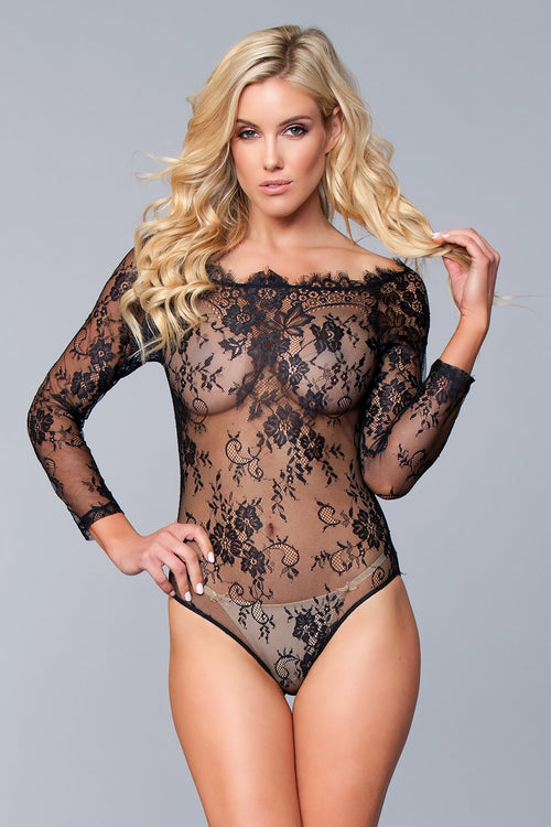 Black Lace Sheer Floral Teddy