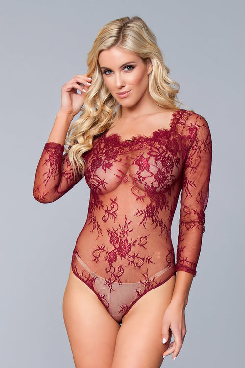Maroon Lace Sheer Floral Teddy