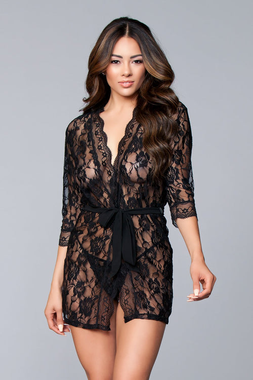 Black Lace Robe Sleepwear Lingerie