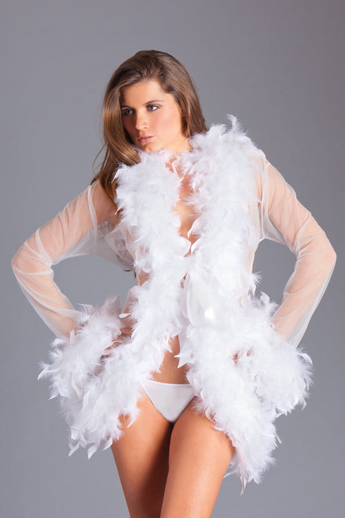 White Feather Robe Sheer Sleepwear Lingerie