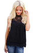 Black Highneck Lace Tank