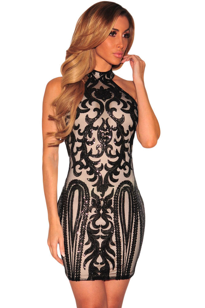 Black Applique Ivory Baroque Cocktail Dress