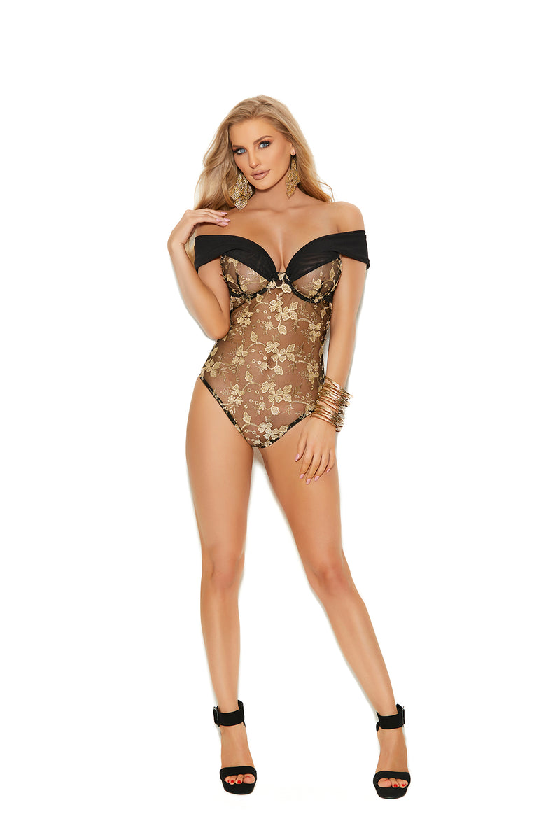 Black and Gold Off The Shoulder Embroidered Lace Teddy