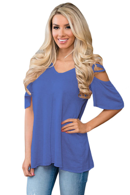 Blue Cold Shoulder Tee