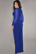 Blue Chiffon Bubble Sleeve Jumpsuit