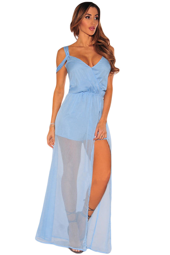 Light Blue Sheer Caped Maxi Romper
