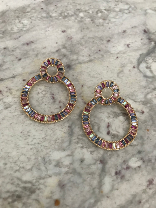 Multi Color Circle Statement Earrings