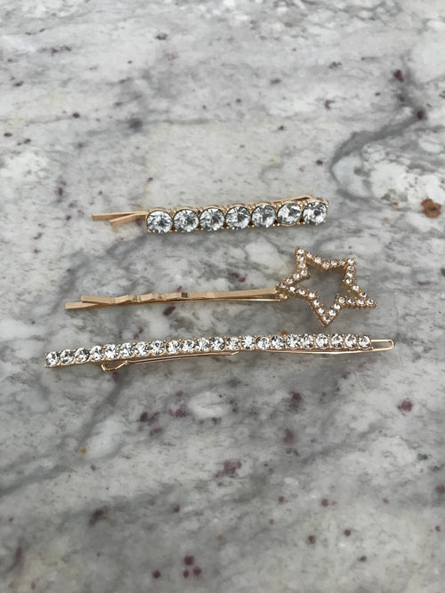 Gold Rhinestone Star Hair Clips