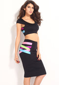 Neon Strappy Crop Top Midi Skirt Set