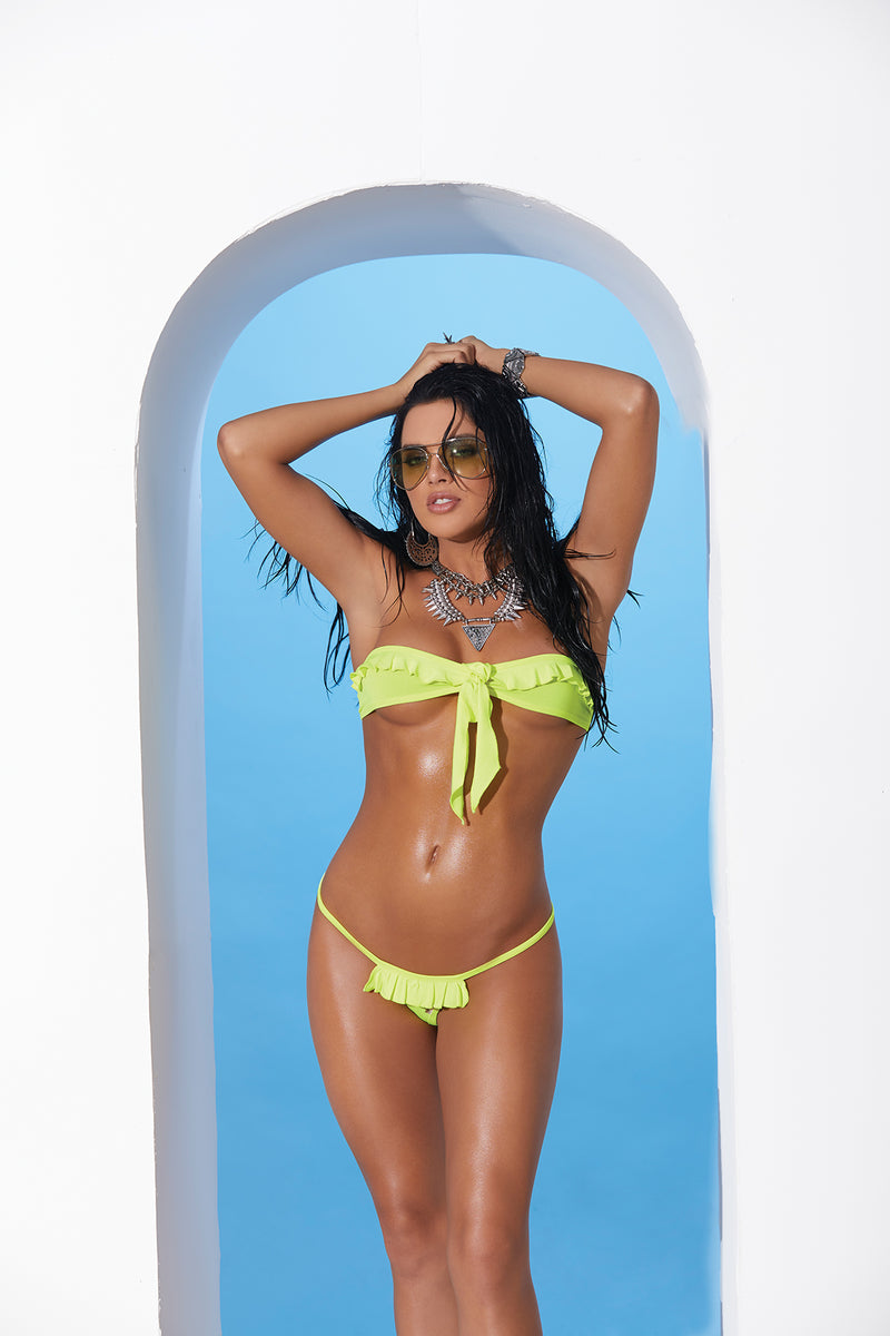 Chartreuse Lycra Bandeau Top and Matching G-string with Ruffle Trim