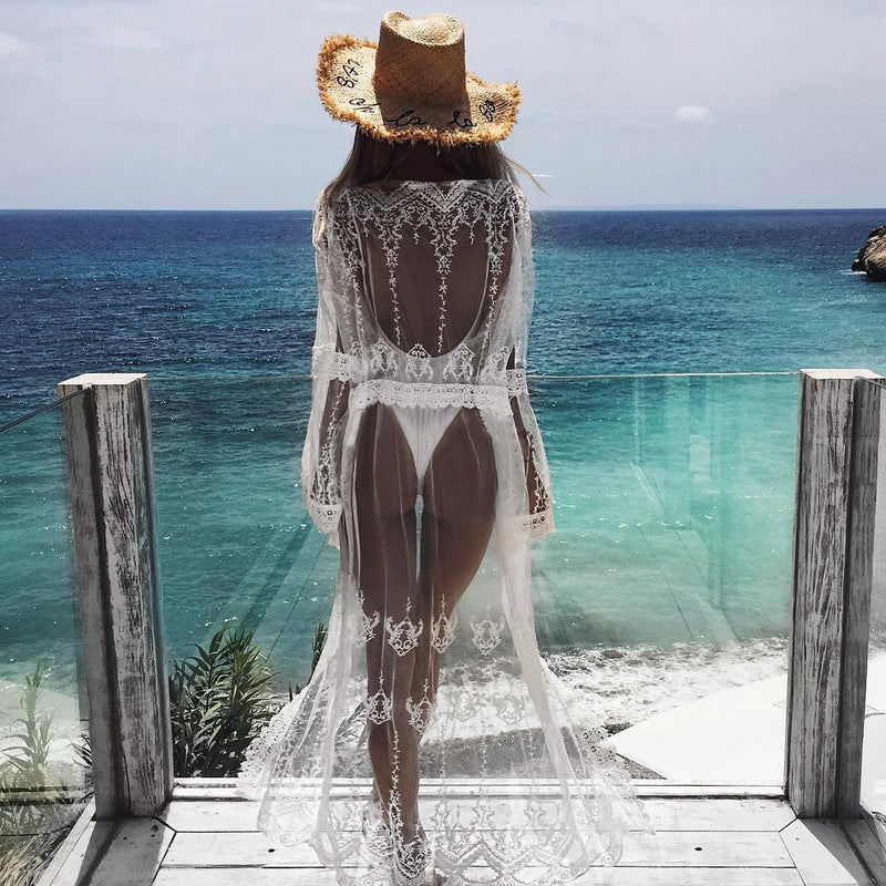 White Sheer Lace Long Sleeve Cover Up Swimwear