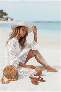 Posh White Floral Lace Beach Cover Up Long Bell Sleeve