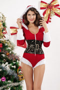 Christmas Velvet Hooded Romper Costume Teddy Lingerie