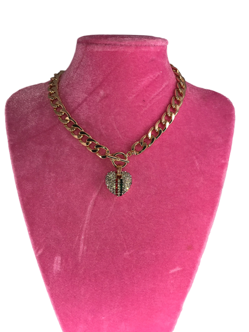 Gold Chain Rhinestone Heart Necklace
