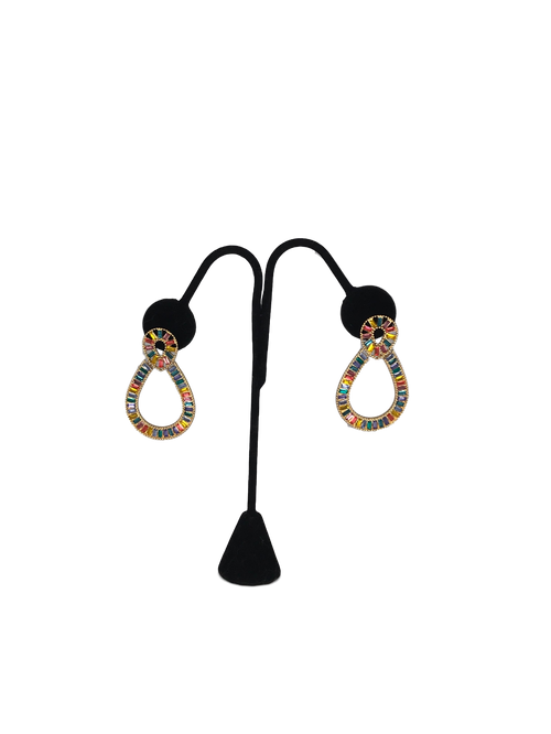 Gold Oval Multi Color Statement Earrings