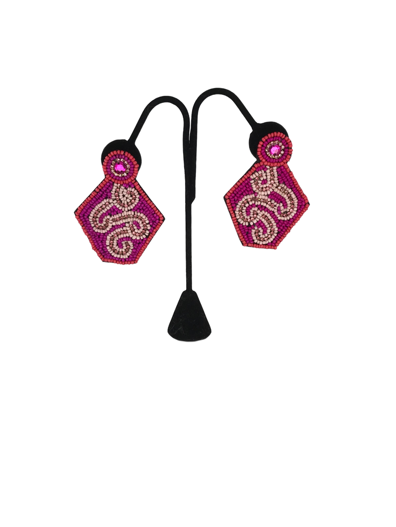 Pink Beaded Statement Earrings