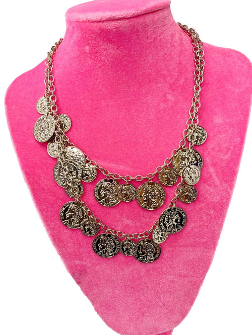 Silver Coin double row necklace