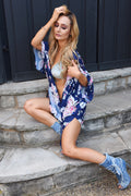 Navy Blue Floral Kimono Cover Up