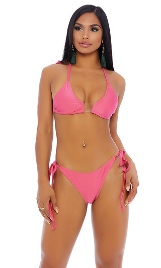 Pink Bikini Halter Triangle Top Elastic Middle Cheeky Bottoms Tie Side