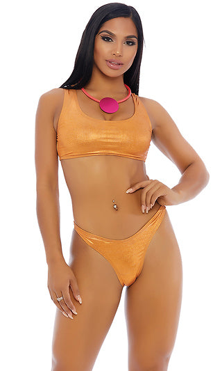 Orange Metallic De Macoris Sporty Bikini Set B2107