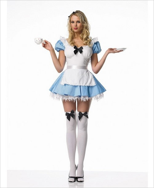 Alice In Wonderland Halloween Costume Cosplay Holiday Apron Ruffles Medium 83086