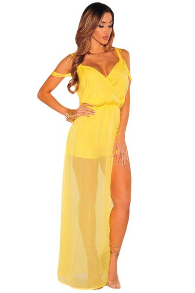 Yellow Sheer Caped Maxi Romper