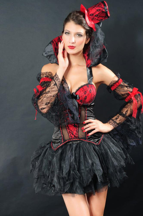 Vampire Halloween Costume Black Red Lace High Collar Lace Arm Accent Large 8622