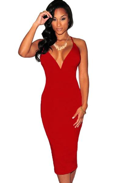 Red Deep Neckline Corset Cocktail Dress