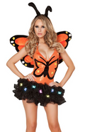 Butterfly Halloween Costume Orange Wings Headband One Piece Bodysuit