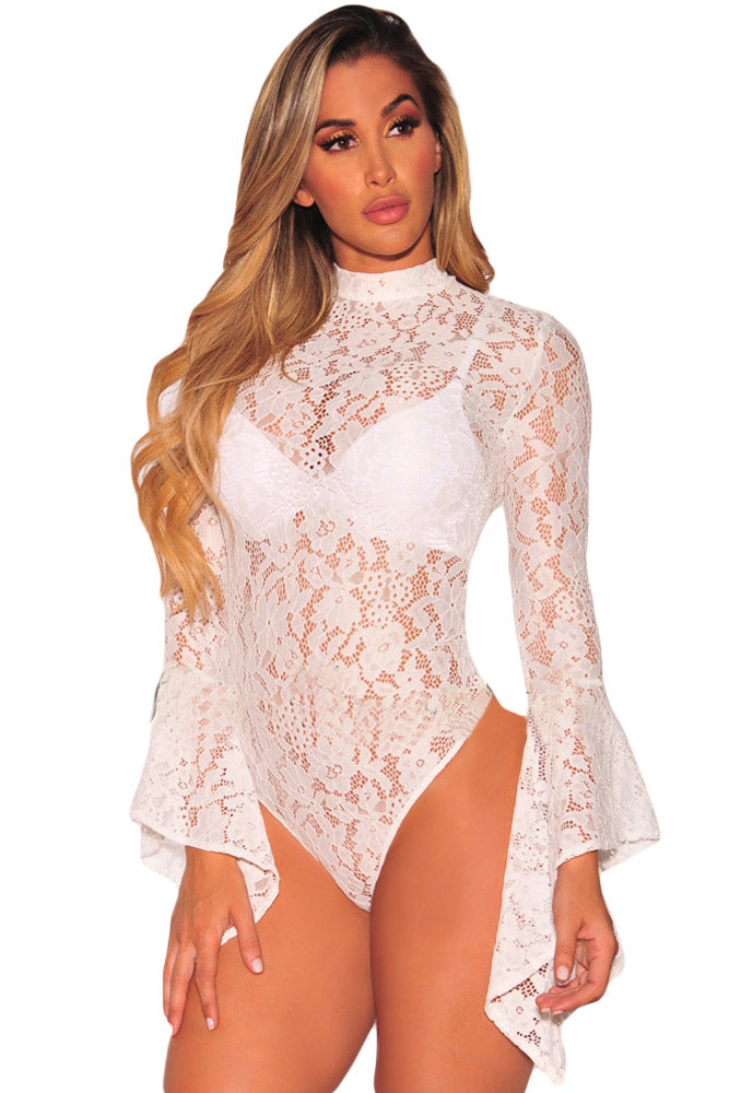 Lace Bell Sleeve Bodysuit Teddy