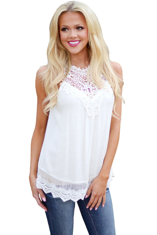 White Highneck Lace Tank