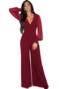 Red Chiffon Bubble Sleeve Jumpsuit