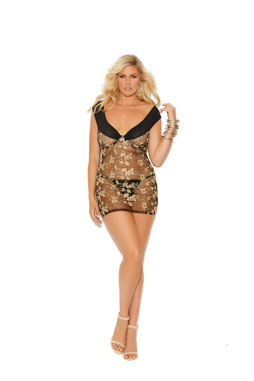 Black/Gold Off The Shoulder Embroidered Lace Babydoll Plus Size