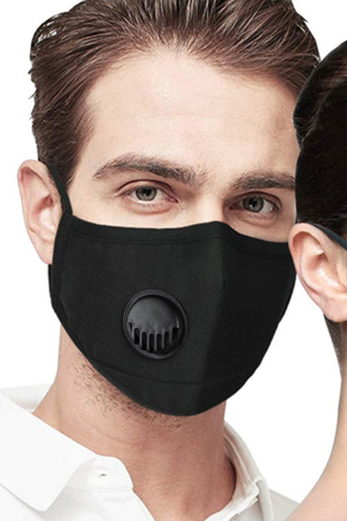 Reusable Black Cotton Face Mask w Breathing Valve 5PC SHIPS FREE TODAY FROM USA