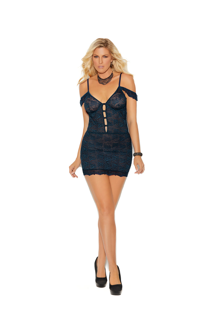 Midnight Blue Off the Shoulder Lace Chemise